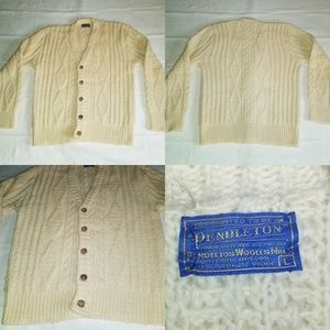 Men's Vintage Pendleton Knit Cable Cardigan 100% L